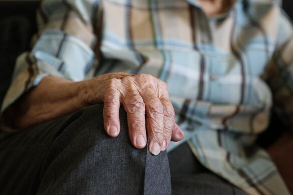 Close up of a senior womans hand