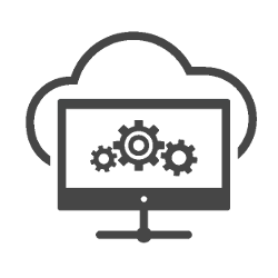 Computer screen with gears and cloud