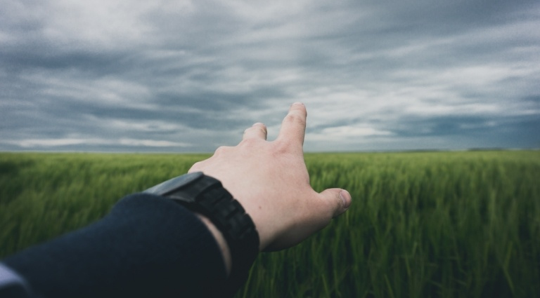 Man reaching out hand over grass