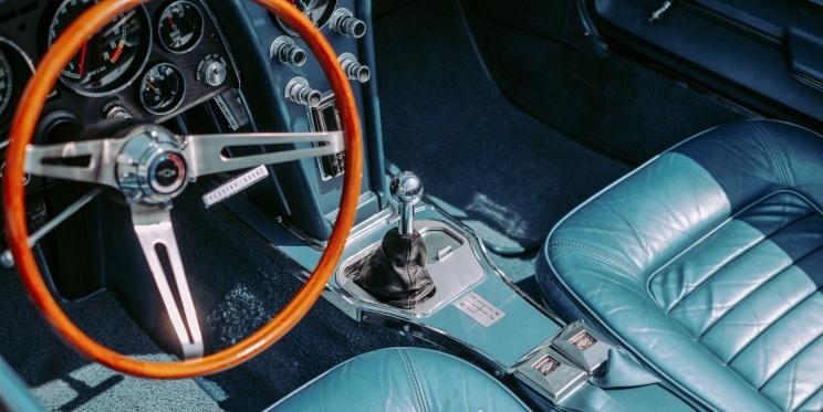 Inside of antique car